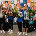 Hõbemedali võitnud korvpallureid ootas lennujaamas lillemeri