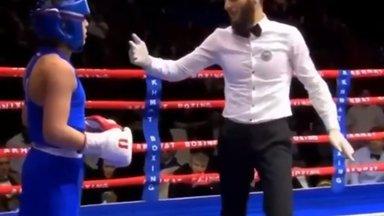 ВИДЕО | Сын Кадырова получил серию ударов в бою на ринге и тут же был объявлен победителем