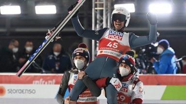Poolakas kerkis vanimaks suusahüppe maailmameistriks, teises voorus imet teinud norralane jäi medalita