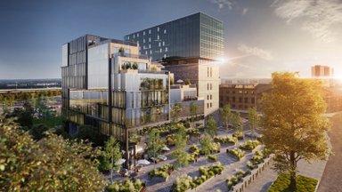 Fahle Pargi uus laiendus toob Tartu maanteele haljastaud linnaväljaku ja terrassidega hoone