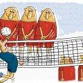 Võrkpalli EMi karikatuur | Läti blokk oli ülivõimas